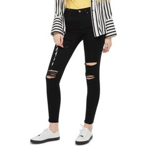 Topshop Moto Leigh Distressed Black Skinny Jeans
